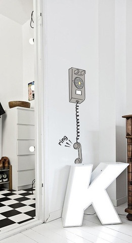 Decorate your wall with funky phone device and confuse guests!   Composition dimension   45 cm width,  130 cm height
