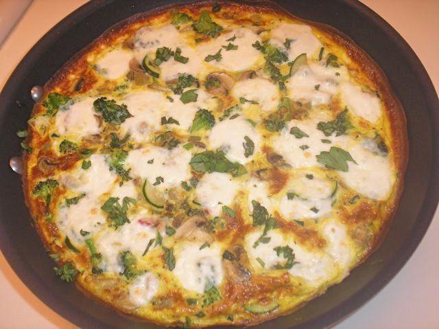 Vegetable Frittata with Fresh Mozzarella and Basil