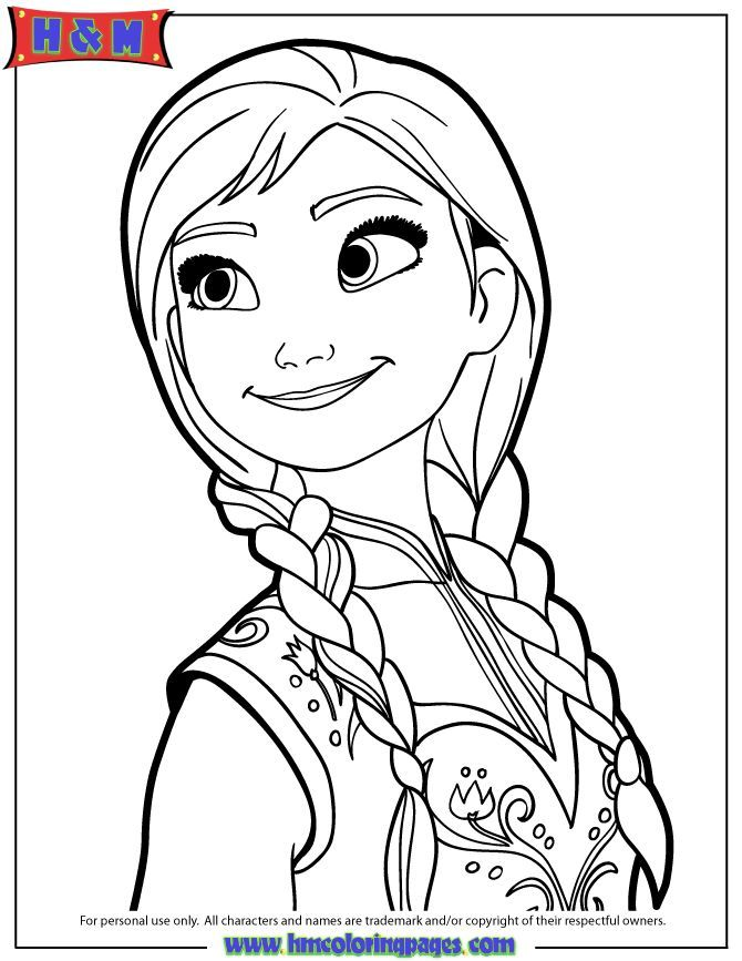 Coloring Pages Frozen Anna Portrait Of Page