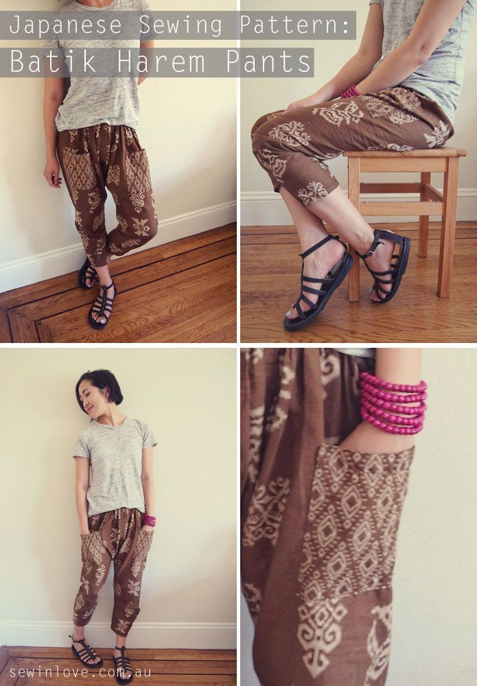 "Harem pants made from the Japanese sewing pattern book, Happy Homemade Sew Chic. I used Indonesian batik fabric. Use ""PINTEREST15"" for 15% off my ebooks."