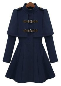 Navy High Neck Long Sleeve Buckle Strap Cloak Coat US$68.33