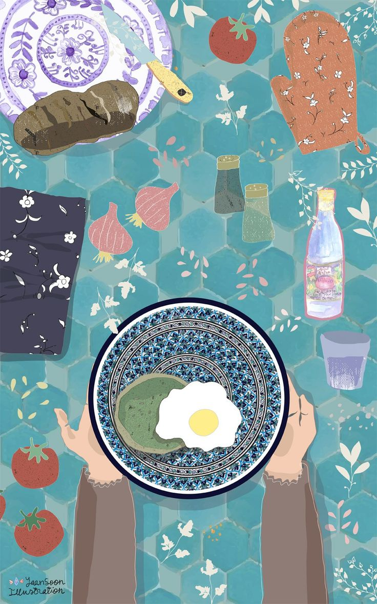 North African Mediterranean Food Illustration: Eclectic Flat Lay Table, reflecting the colourful & eclectic lifestyle of this part of the world | By multi-cultural illustrator and artist Yaansoon | The Illustration Blog of a Nomadic Mediterranean Foodie | Food Illustration Portfolio