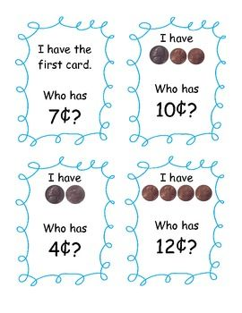 This is a fun game to use to practice counting pennies and nickels. There are 30 cards included - difficulty level is varied so you will be able to...