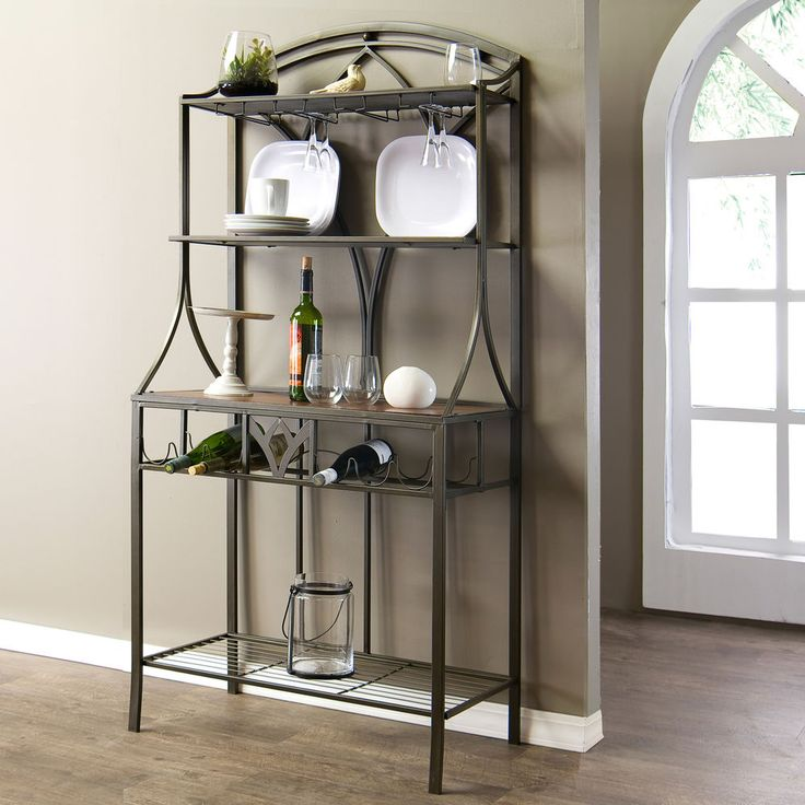 Margaux Wood Metal Transitional Baker's Rack Dish Wine Storage #Margaux
