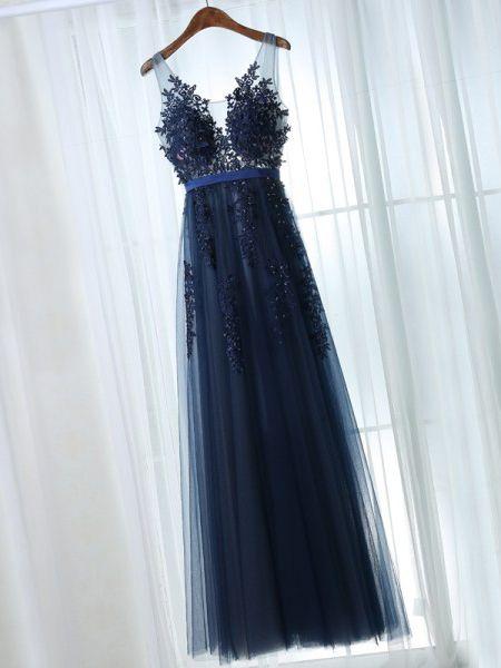 d6702f5d685abd Chic Abiballkleider/Abendkleider Träger A-Linie bodenlang Dunkelmarineblau  Abendkleider #liebekleider #cocktailkleider #kommunionkleider