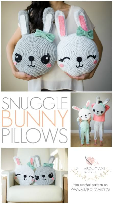Snuggle Bunny Pillows By Stephanie - Free Crochet Pattern - (allaboutami)