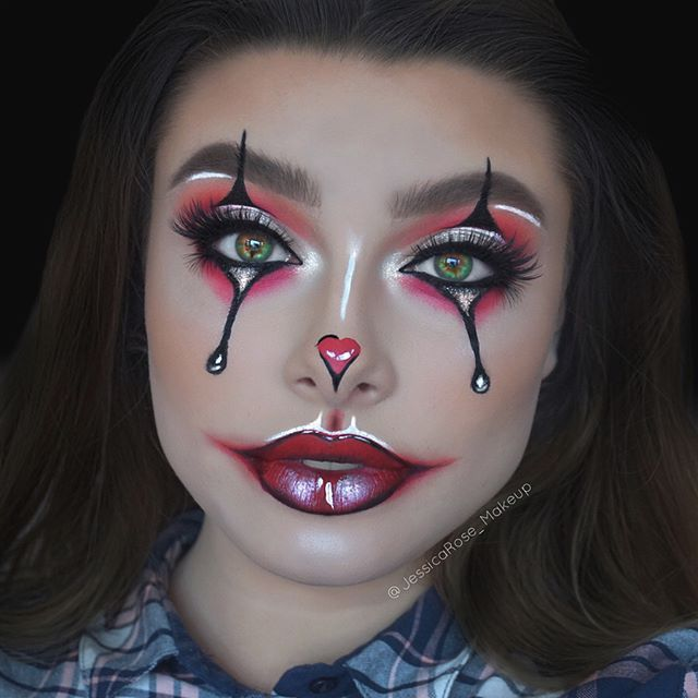 WEBSTA @jessicarose_makeup Glam clown recreation of one of @milk1422 amazing facecharts!❤️ Makeup details: Eyes - @hudabeauty Desert Dusk palette. @meltcosmetics Radon eyeshadow from the Radioactive stack and Allday/Everyday eyeliner in 1987. @narsissist Soft Matte Concealer to carve out the crease. @Lasplash Crystallized glitter in Platinum Fizz. @nyxcosmetics Matte liquid liner. @katvondbeauty tattoo liner. @hudabeauty Faux Mink lashes in Jade and Eazy lashes in Camille