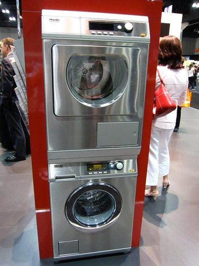 """Sweet! Miele front loading and high efficiency Little Giant Washer and Dryer can be installed stacked or side by side. 33.5""""H x 23.5""""W x 27.6""""D. Filters accessed in front. Featured in Dwell."""