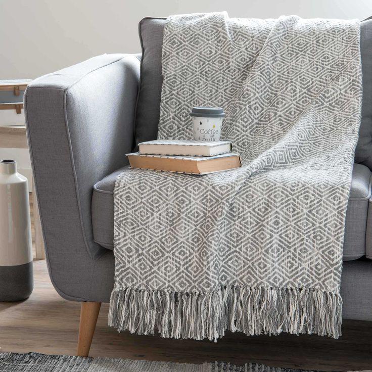 Copriletto in cotone con motivi jacquard grigio 130x170 cm GARDANE