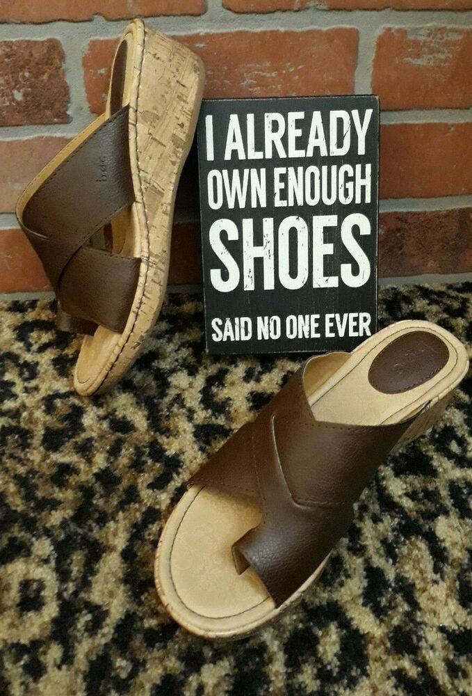083bf98c5ba1 BOC Born Womens Brown Tan Wedge Strappy Sandal Shoes Cork Heel Toe Strap  NEW 8 M  Brn  TStrap