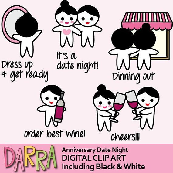 Planner girl clip art commercial use / anniversary date night