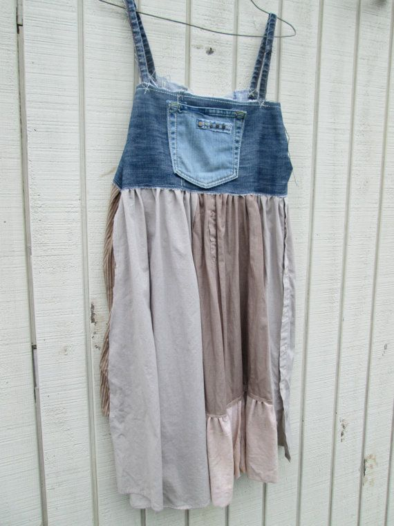 Small large upcycled clothing funky denim jumper tunic shirt eco dress denim artsy - How to reuse old clothes well tailored ideas ...