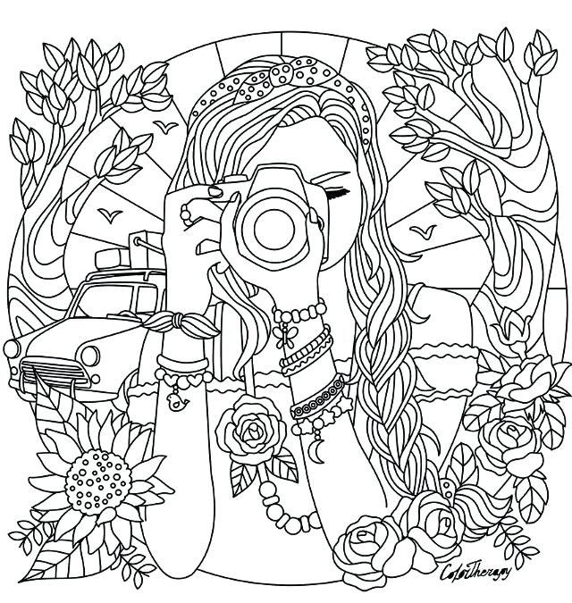 Free Color Page Summer Journey Camera Journaling Detailed Coloring Pages Cute Coloring Pages Coloring Pages For Teenagers