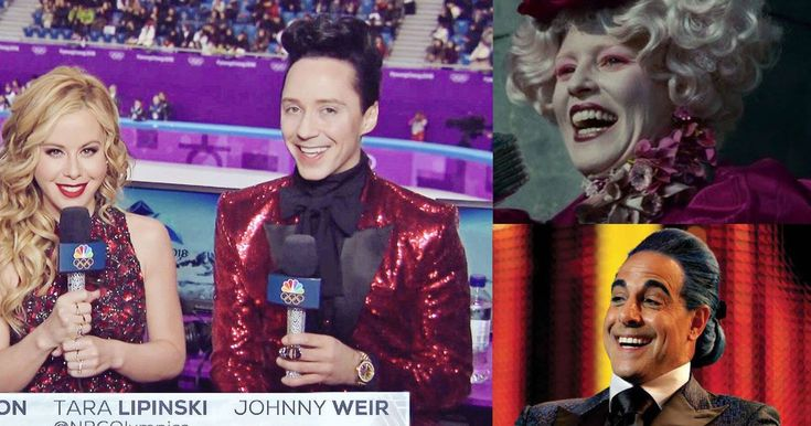 Tara Lipinski and Johnny Weir have transformed the Olympics into 'The Hunger Games'   The 2018 Winter Olympics have arrived and the spotlight isn't only on the athletes.  The world is keeping a close eye on the skills, performance, and fashion of announcers, too, and on day one of competitions when people wanted a hot new Olympics meme Johnny Weir and Tara Lipinski volunteered as tribute…