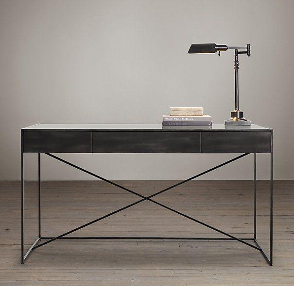 gramercy mirrored desk restoration hardware