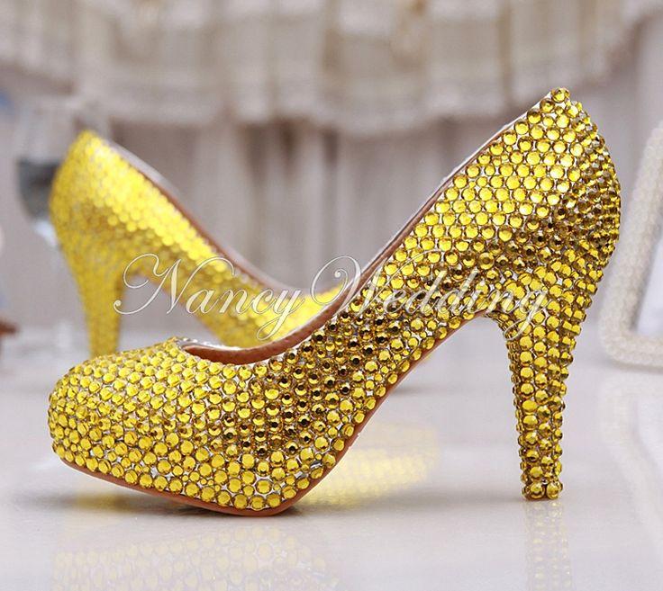Золото Горный Хрусталь каблуки Ручной Сексуальные Женщины Платформы Свадебные Свадебная Обувь для Торжеств и Вечеринок Пром Высоких Каблуках 2015 Золото Невесты Обувь