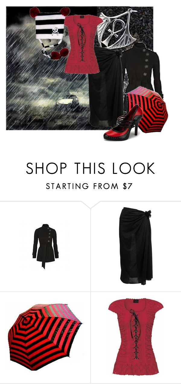 """""""a cold rain"""" by brassdollfin ❤ liked on Polyvore featuring Debenhams, Eres, Retrò, velvet, trench coats, high heels, red, umbrellas, long skirts and black"""