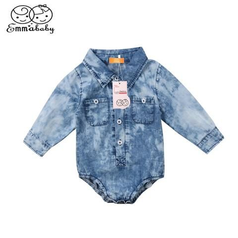 91d21f93da7c Baby Boys Girl Denim Romper Newborn Infant Baby Boy Girl Jean Long ...