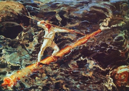 urgetocreate: Akseli Gallen-Kallela, The Log Floater, 1927 (White Winter Hymnal)