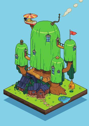 Adventure Time - Treehouse Pixel Artist: Gengar Source: pixeljoint.com