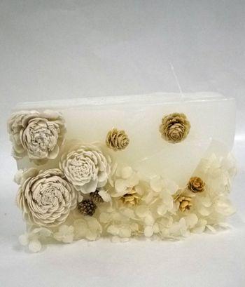 花キャンドル white