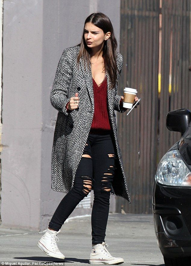 On the go: Emily Ratajkowski was pictured leaving a friend's house in Los Angeles on Tuesday morning