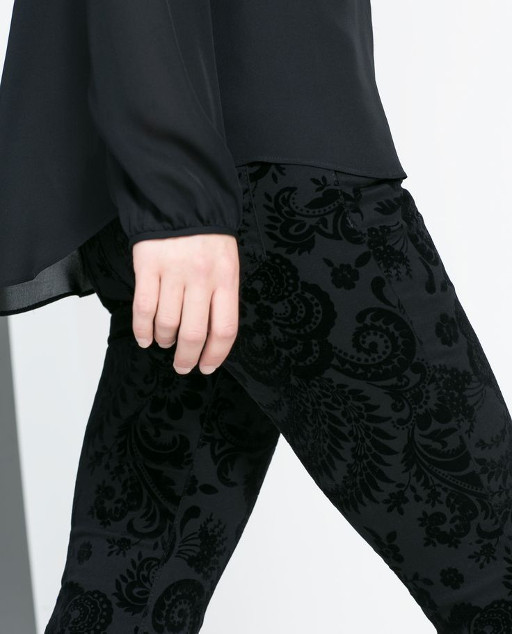 FLOCK PRINT TROUSERS - Trousers - WOMAN | ZARA United States