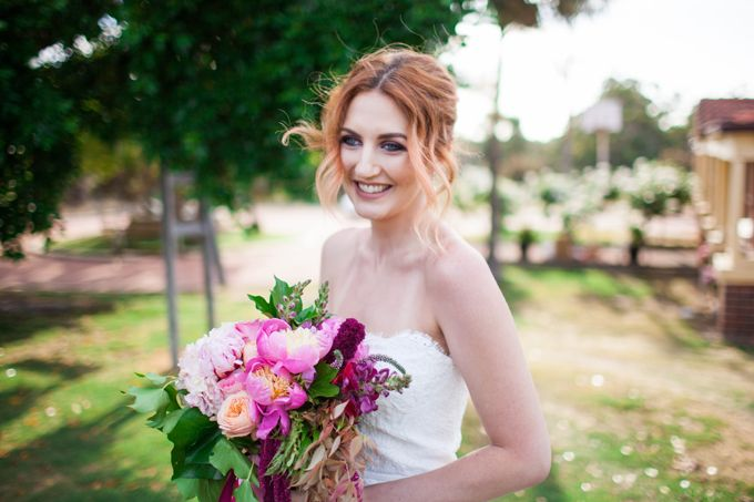 botanical beauty styled shoot   outdoor wedding   inspiration   private property   perth   western australia   furniture hire   wedding ceremony   long table dining   spring   wedding stylist   lace gown   garden wedding   collaboration   Featured on First Comes Love with images by Amelia Clair Photography