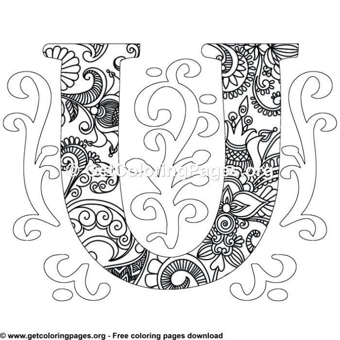 Zentangle Monogram Alphabet Letter U Coloring Sheet Owl Coloring Pages Pattern Coloring Pages Butterfly Coloring Page