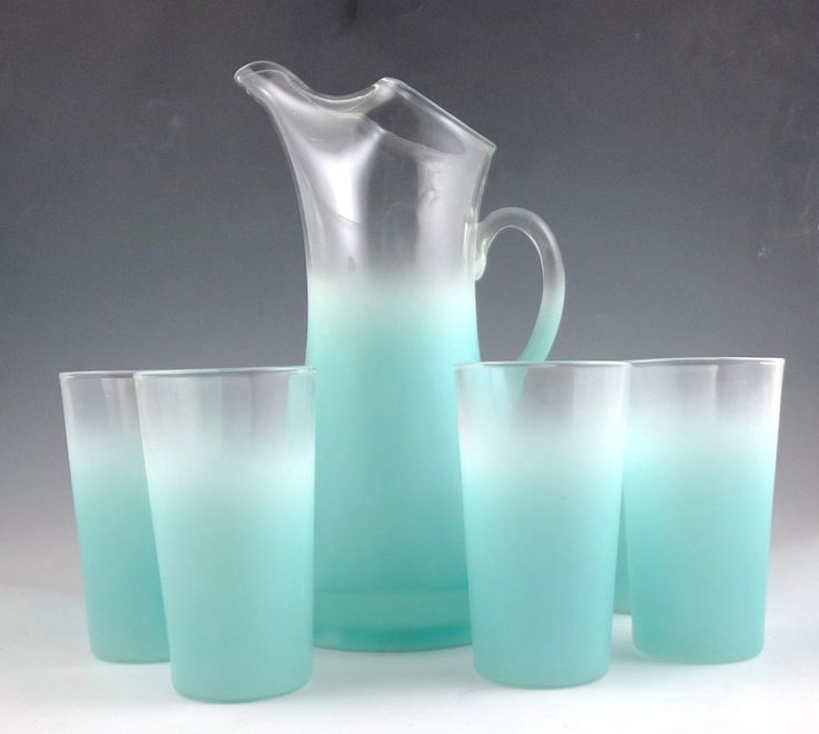 West Virginia Blendo Aqua Vintage MCM Glass Frosted Pitcher 6 Glasses Set