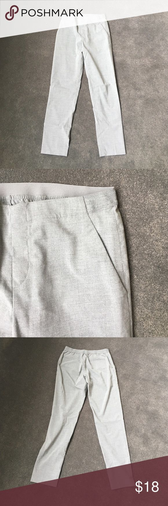 Uniqlo Light Grey Slim Fit Elastic Waist Trousers Never worn, perfect simple business casual pants. Waist 26 inches with Elastic Uniqlo Pants Trousers