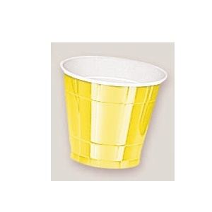 Plastic Yellow Sunshine Cups. There are 20 Plastic Cups per package. These 9 ounce cups come in 22 colours to match any theme or event.