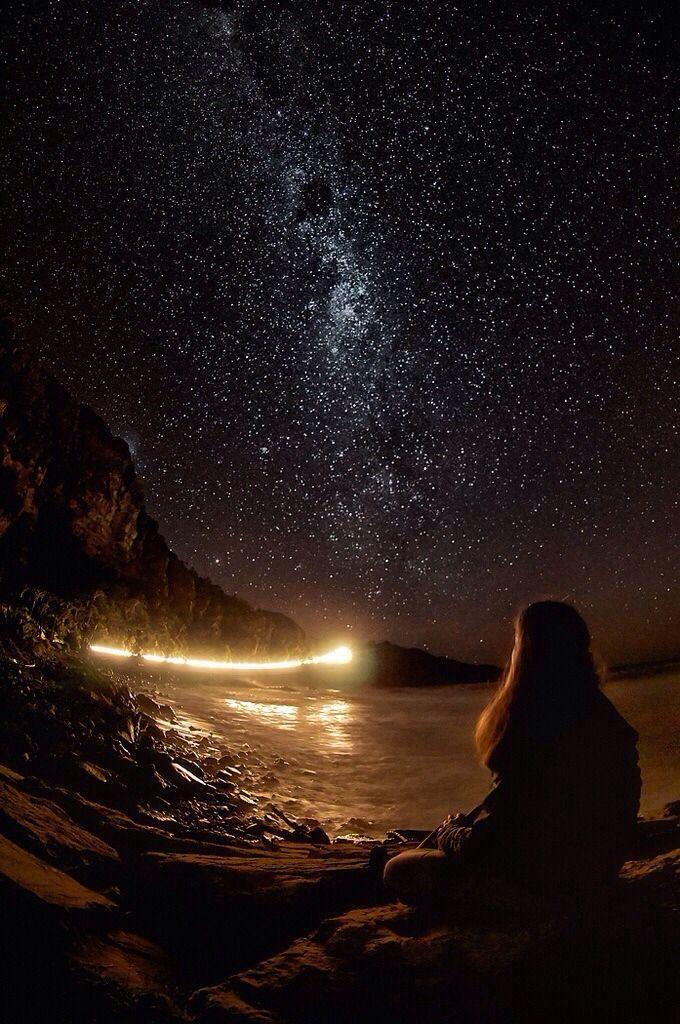 Starry Night - Girl by the Stars starry via Stargazer
