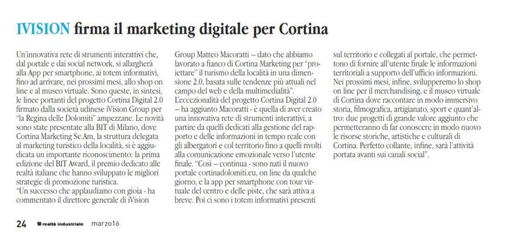 Oggi Confindustria Udine parla della nostra collaborazione con Cortina d'Ampezzo sul mensile #RealtàIndustriale #digitalife #innovazione