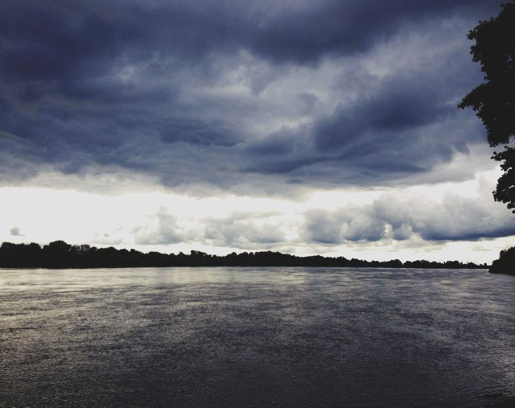 Cloudy moment. River Danube, Hungary