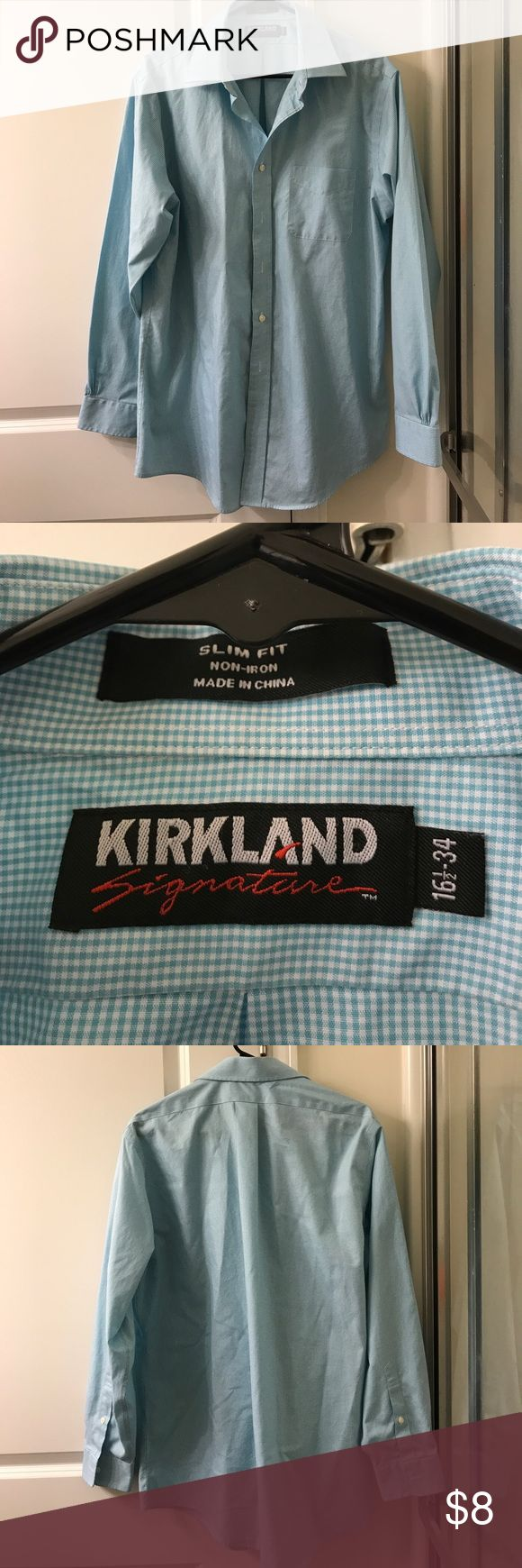"LIKE NEW Kirkland Signature Slim Fit dress shirt Slim fit, non-iron, blue and white checked print dress shirt. Size 16 1/2"" 34 Kirkland Signature Shirts Dress Shirts"