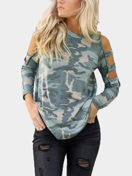 7c262b46a14fa2 Camouflage Cut Out Details Cold Shoulder Long Sleeves Tee