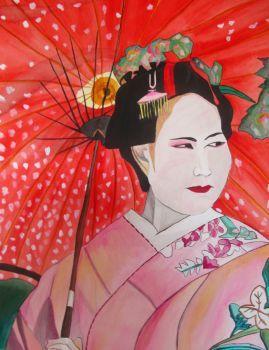 Japanese Geisha with red umbrella watercolor Artist: Grossel, Sacha Artwork title: Japanese Geisha with Red Umbrella