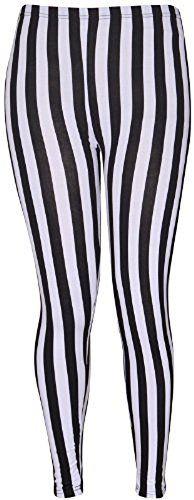 British Womens Plus Size Stripe Print Stretchy Jersey Leggings. UK #British #PlusSize #FashionBug #UK #Leggings #Curve