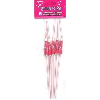 Hens Night Bachelorette Bride To Be 5 Umbrella Party Straws
