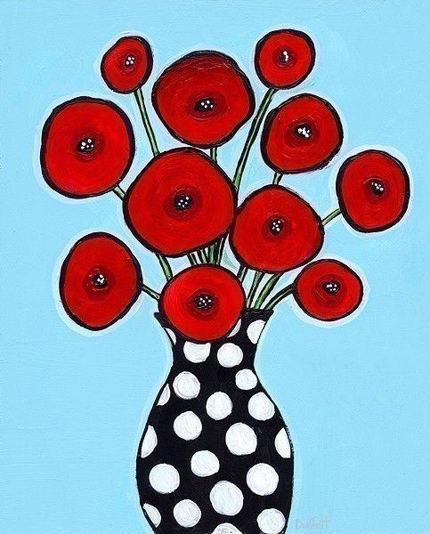 Rode papavers Aqua Polka dots Shelagh Duffett afdrukken