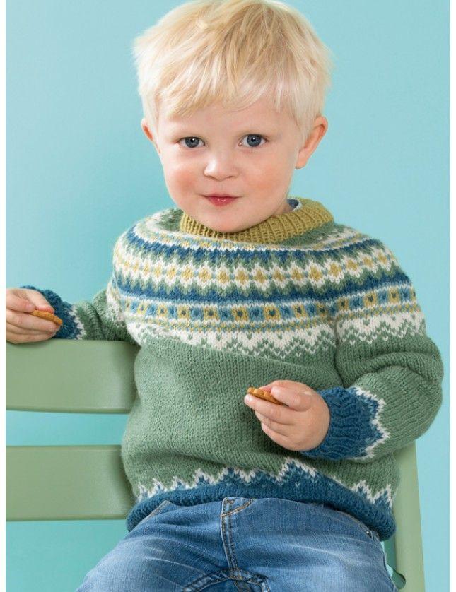 Oliver rundfelt genser (6 mnd - 4 år). Garnpakke i Lanolin Wool fra Dale Garn.