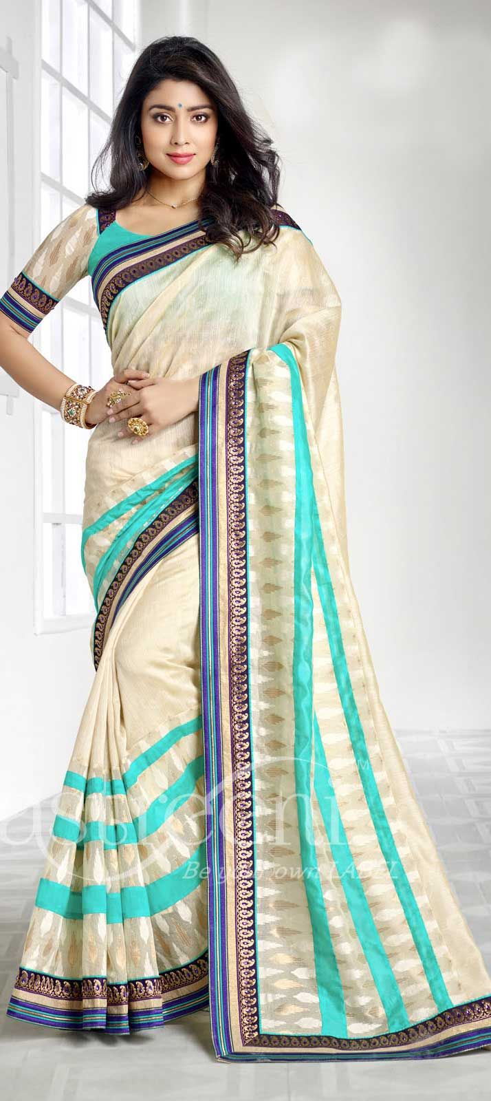 Beige and Brown color family Bollywood sarees .