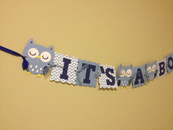 Chevron Owl Baby Shower Banner - Baby Shower Decorations - Owl Party