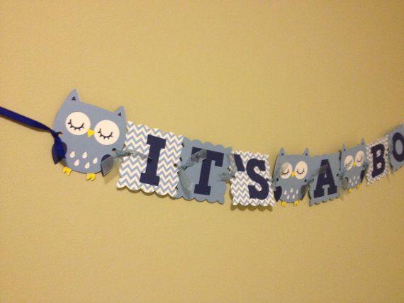 Chevron Owl Baby douche Banner Baby douche van wittypaper op Etsy