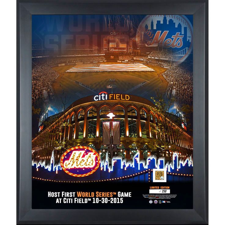 """New York Mets 2015 MLB World Series Framed 20"""" x 24"""" First World Series Game at Citi Field Collage with a Piece of World Series Game 3 Dirt - $119.99"""
