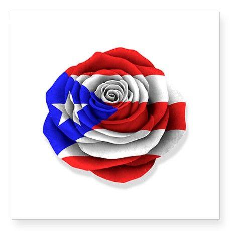 Puerto Rican Rose Flag on White Sticker on CafePress.com