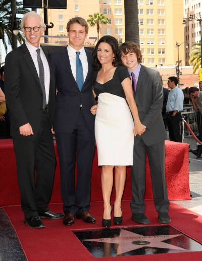 Louis-Dreyfus-- Julia Louis-Dreyfus with her husband Brad Hall and their sons Henry and Charles