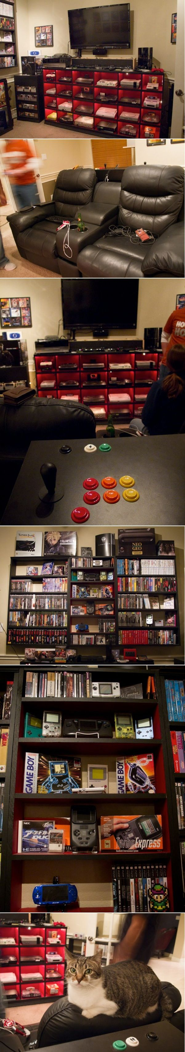 Awesome home video game center. The cat makes it THAT much cooler :)