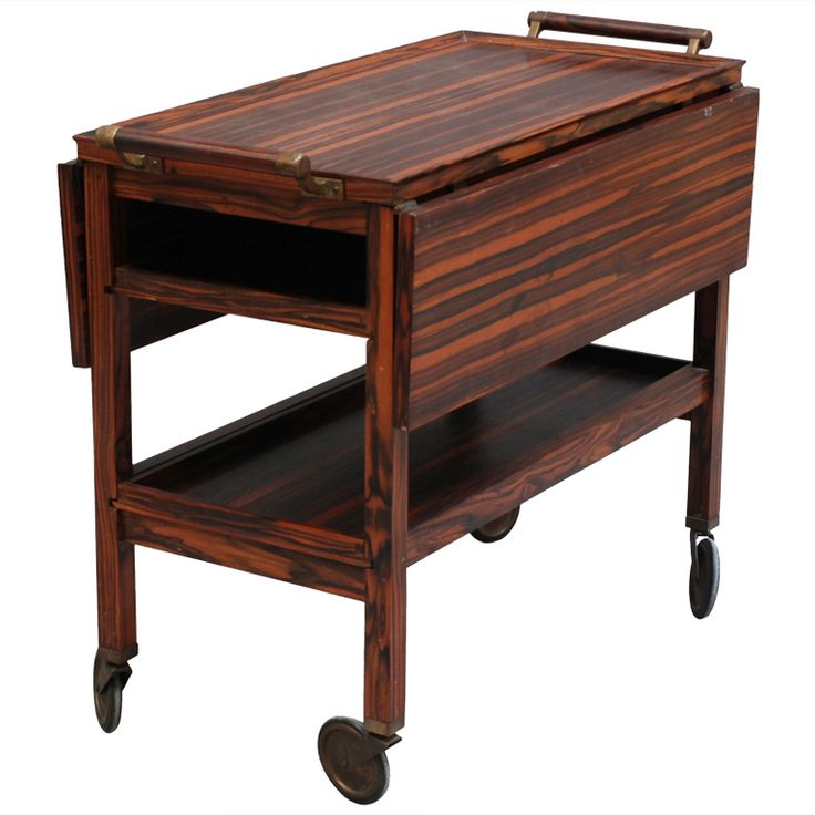 1stdibs   French Art Deco Macassar Rolling Cart Table / Serving Table